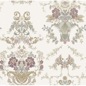 PAPEL PINTADO Diseño Damasco floral hilo seda crema buedeos