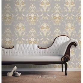 PAPEL PINTADO Diseño Damasco floral hilo seda gris beige