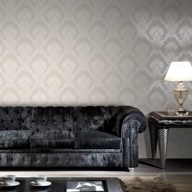 PAPEL PINTADO Damasco textil en dos tonos seda beige