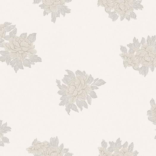 PAPEL PINTADO Flor textil seda beige gris