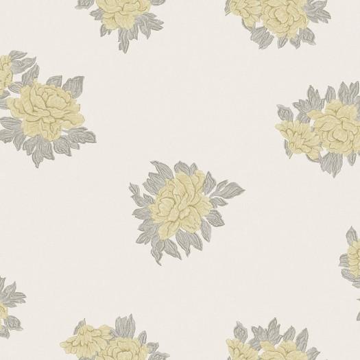 PAPEL PINTADO Flor textil seda beige amarillo gris
