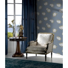 PAPEL PINTADO Flor textil seda azul gris amarillo