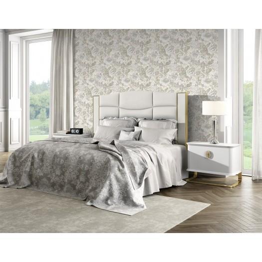 PAPEL PINTADO Flor textil seda tupido beige gris