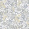 PAPEL PINTADO Flor textil seda tupido gris amarillo