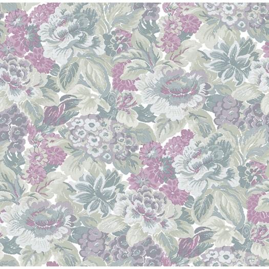 PAPEL PINTADO Flor textil seda tupido verde burdeos