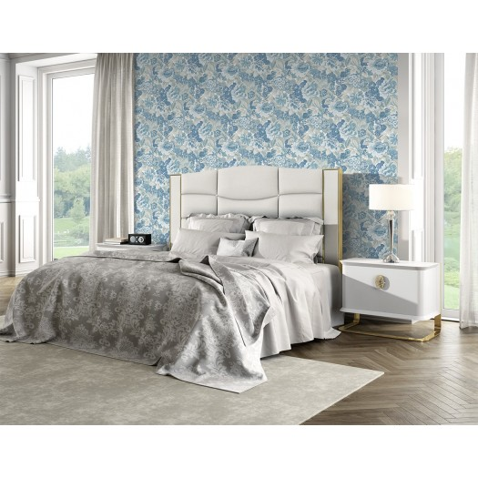 PAPEL PINTADO Flor textil seda tupido azul beige