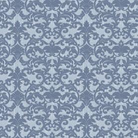 PAPEL PINTADO Damasco brocado en seda azul