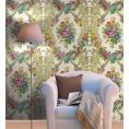 Murales Digitales Diseño Damasco floral hilo seda dorado multi