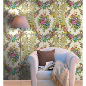 Murales Digitales Diseño Damasco floral hilo seda crema multi