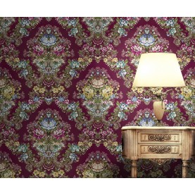 Murales Digitales Diseño Damasco floral hilo seda Azul multi