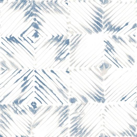 PAPEL PINTADO Diseño en rombos azul