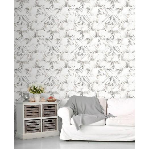 PAPEL PINTADO Diseño en rombos gris beige
