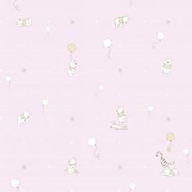 PAPEL PINTADO Winnie the pooh y globos Rosa