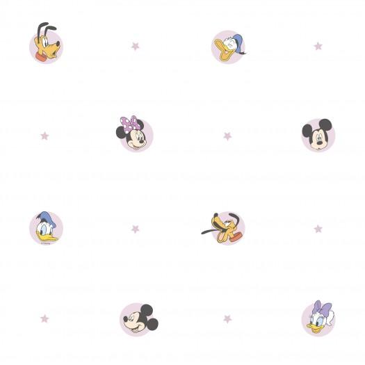 PAPEL PINTADO Mickey y sus amigos Blanco y rosa