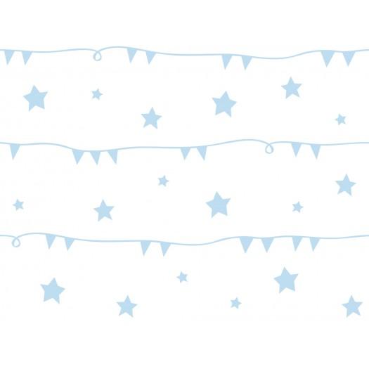 PAPEL PINTADO Guirnaldas con estrellas Azul