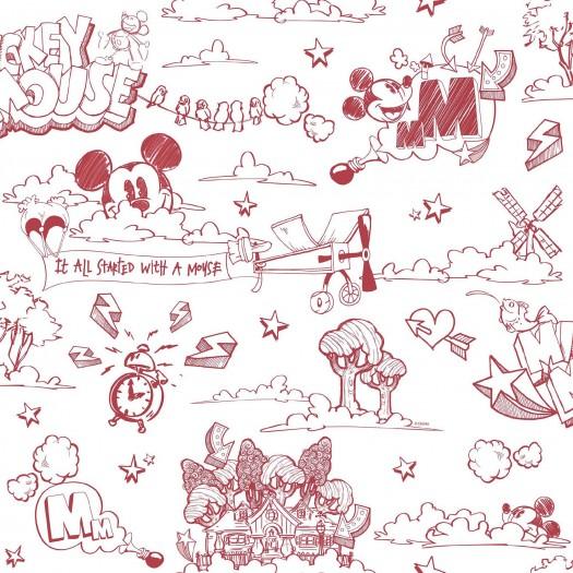 PAPEL PINTADO Disney Mickey Graffiti rojo