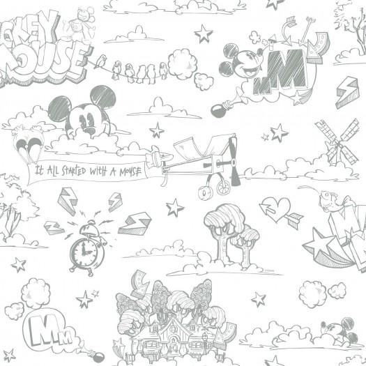 PAPEL PINTADO Disney Mickey Graffiti gris