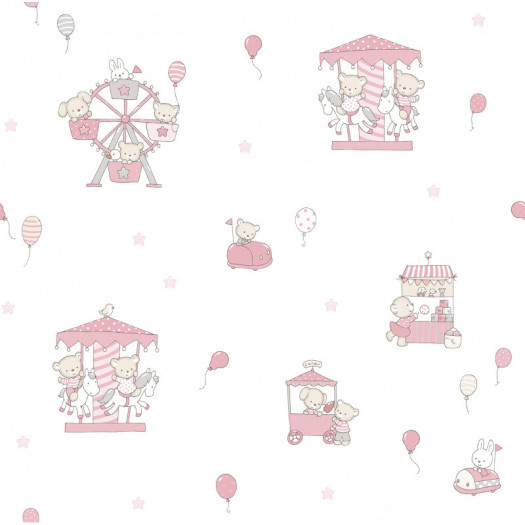 PAPEL PINTADO Carousel rosa