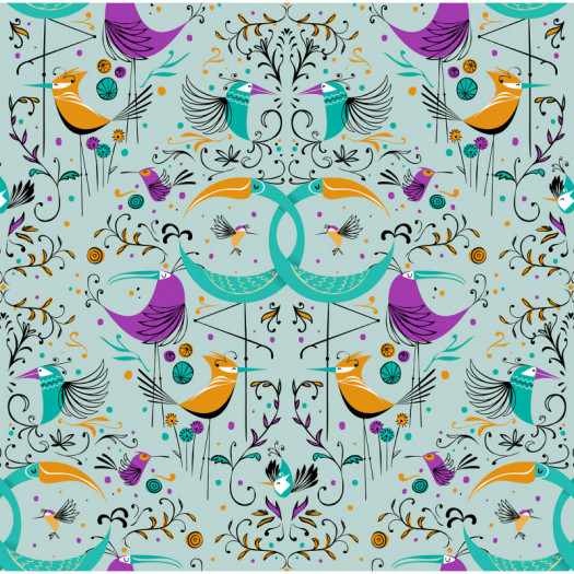 PAPEL PINTADO GROOVY BIRDS AQUA