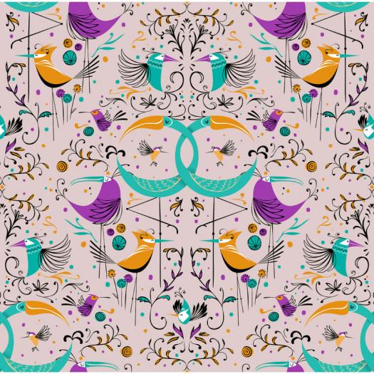 PAPEL PINTADO GROOVY BIRDS ROSE