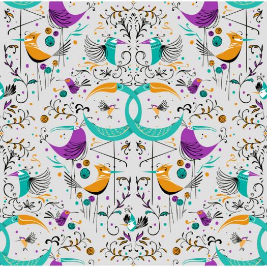 PAPEL PINTADO GROOVY BIRDS SILVER