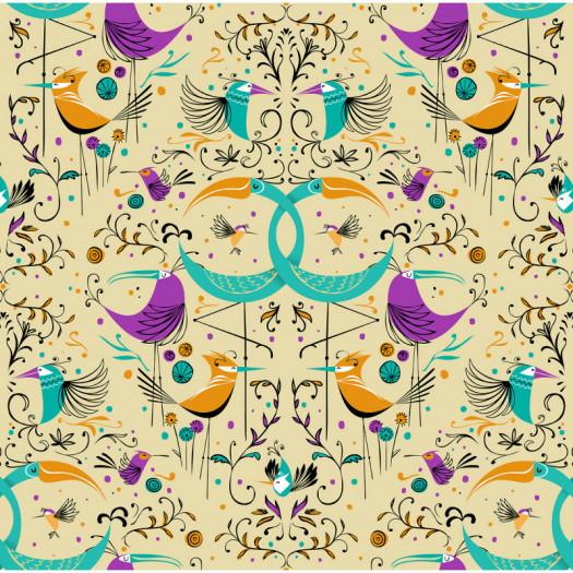 PAPEL PINTADO GROOVY BIRDS GOLD