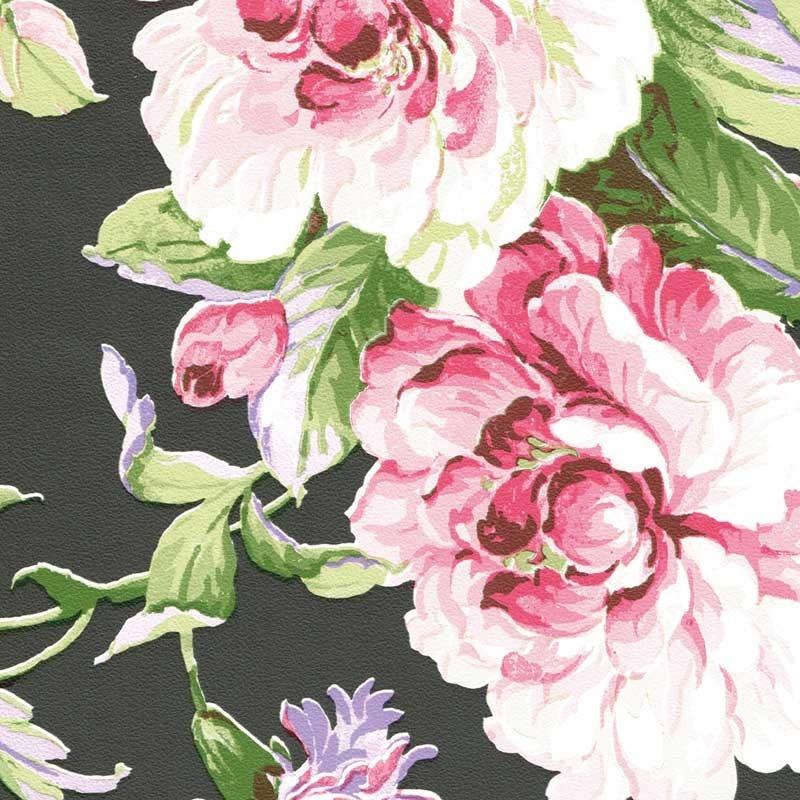 Papel pintado flor cl sica negro matkawalls - Papel pintado negro ...