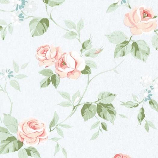 PAPEL PINTADO Flor mediana Azul y Rosa