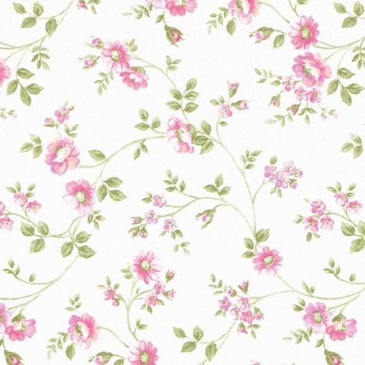 PAPEL PINTADO Flor pequeña rameada Beige y Rosa