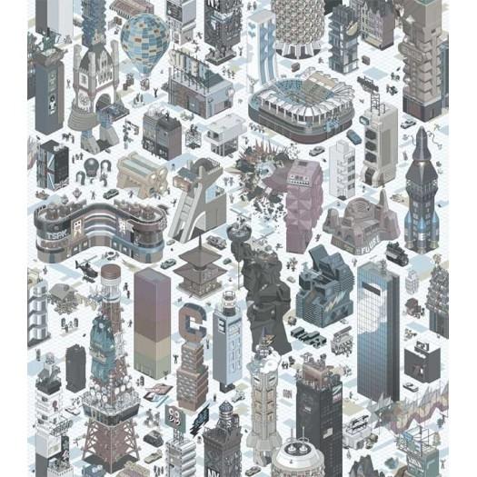 PAPEL PINTADO Ciudad 3D Multicolor Suave
