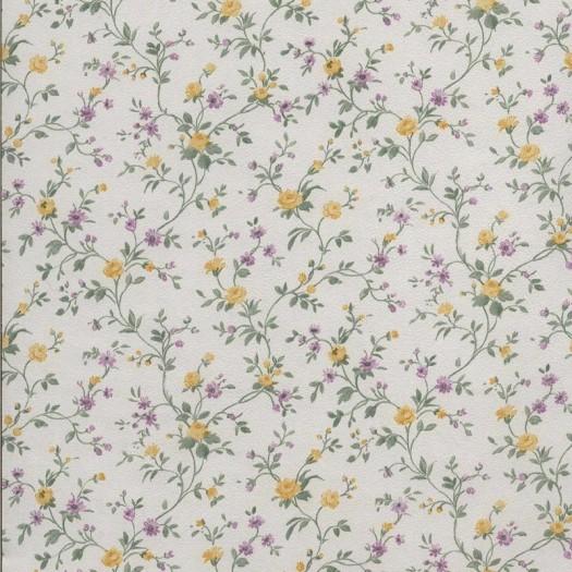 PAPEL PINTADO Flor pequeña Amarillo y Morado