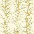 PAPEL PINTADO Hojas de bambú I Blanco y Oro