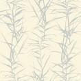 PAPEL PINTADO Hojas de bambú I Blanco y Plata