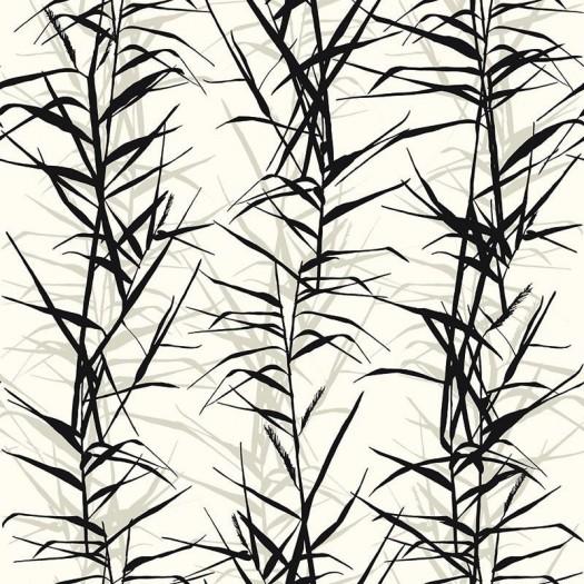 PAPEL PINTADO Hojas de bambú I Blanco y Negro