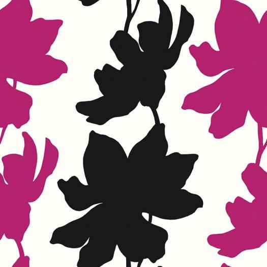 PAPEL PINTADO Flores Negro y Rosa