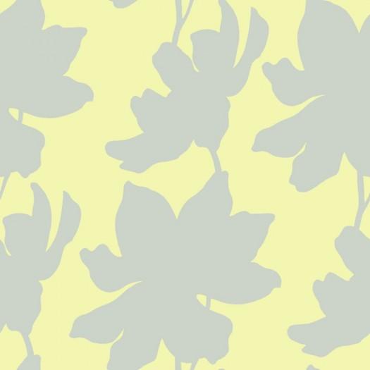 PAPEL PINTADO Flores Verde y Plata